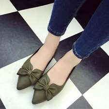 Women's Leather Moccasin Bow Point Toe Flats Shoe Soft Ladies Ballet Shoes Cute
