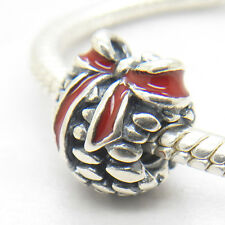 Christmas gift Authentic S925 Sterling Silver Pinecone Red Enamel CHARM BEAD