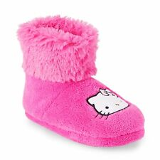 NWT Sanrio Hello Kitty Girls' Pink Soft Cute Trim Slippers Boots Booties 11/12