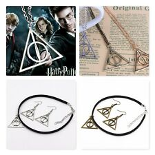 HARRY POTTER DEATHLY HALLOWS NECKLACE PENDANT CHOKER EARRINGS SILVER GOLD BRONZE