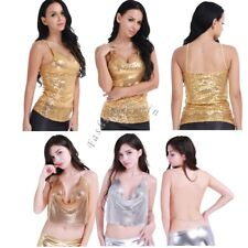 Women's Sequins Backless Crop Top Spaghetti Strap Casual Tank Tops Vest Clubwear