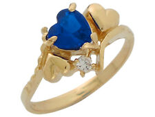10k or 14k Yellow Gold Heart Simulated Sapphire White CZ September Ladies Ring