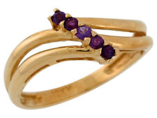 10k or 14k Yellow Gold Natural Amethyst Split Band Bypass Style Ladies Ring
