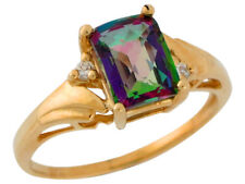 10k or 14k Yellow Gold Mystic Topaz and Diamond Bypass Style Ladies Ring