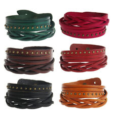 Fashion Metal Stud Rivet Multilayer Leather Bracelet Bangle Cuff Wristband