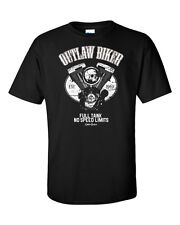 Outlaw Biker T-Shirt Motorcycle Club MC Riders Racer Piston Skull Ace Chopper