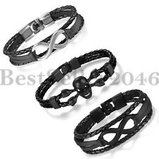 3pcs Love Infinity Bangle Bracelet Multilayer Leather Cord Mens Womens Wristband