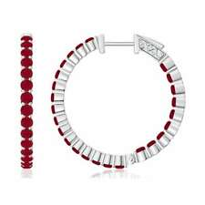 1.6 Ctw Round Natural Ruby Hoop Earrings 14k White Solid Gold