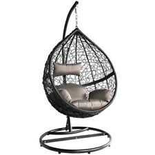 Black&Grey SWING Egg Chair Rattan Patio Stand Hanging Rattan Garden WickerChair
