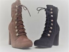 NEW WOMENS ELEGANT HOOK LACE UP CALF SUEDETTE HIGH BLOCK HEELROUND TOE BOOTS