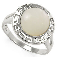 14k Gold Greek Key Mother of Pearl Ring Avail. Ring Size 4 to 9.5 R1113