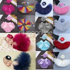 Newborn Baby Infant Girl Tutu Skirt Ruffle Diaper Nappy Headband Photo Prop Soft