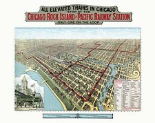 Chicago Elevated Trains 1897 Birds Eye Perspective Vintage Map Repro Poster