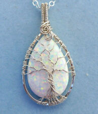 Opal Pendant Necklace,Simulated White Opal Tree of Life Necklace Sterling Silver