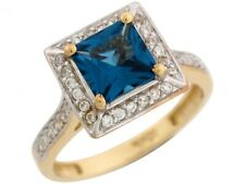 10k or 14k Two Tone Gold Simulated Blue Zircon White CZ December Ladies Ring