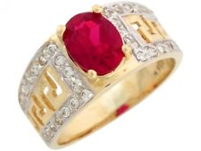 10k or 14k Two Tone Gold Simulated Garnet White CZ Greek Key January Ladies Ring