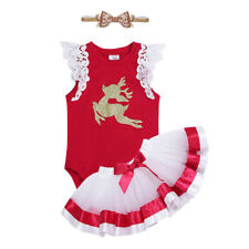 Newborn Infant Baby Girl Christmas deer Romper Fancy Tutu Dress Outfit Clothes