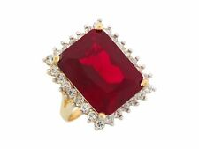 10k or 14k Yellow Gold Simulated Garnet White CZ Luxurious Ladies Statement Ring