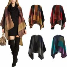 Cashmere Scarf Patchwork Plaid Poncho Cape Poncho Wrap Shawl Cloak Mud Point