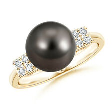 Art Deco-Inspired Tahitian Cultured Pearl Ring 14k Yellow Gold Size 3-13