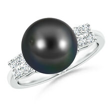 Art Deco-Inspired Tahitian Cultured Pearl Ring 14k White Gold Size 3-13