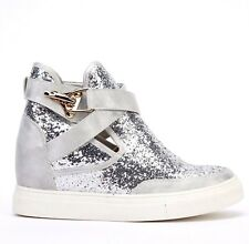 WOMENS SILVER HIGH WEDGE HEEL HIGH TOP SNEAKERS TRAINERS SHOES ANKLE BOOTS 2.5