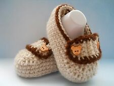 Handmade Crochet / Knit Baby Boys Loafer Style Shoes / Booties 4 Sizes