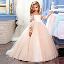 Bridesmaid Girl Dress 2017 New Puffy Lace Flower Weddings Long Sleeves Ball Gown