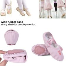 Pink/Nude Leather Ballet Dance Slippers Gym Shoes Childs Girls Sizes Full Sole