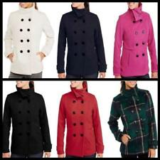 Womens Faux Wool winter warm jacket Peacoat With Stand Collar Coat Outwear new