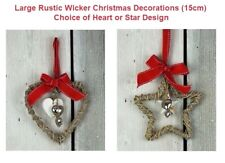 Christmas Decoration Large Hanging Wicker Heart or Star Silver Hearts Bow & Loop