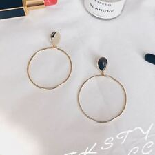 Women Fashion Big Circle Simple Metal Golden Silver Color Round Drop Earring