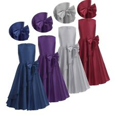 Girl Kids Flower Bow Satin Bridesmaid Princess Prom Party Wedding Pageant Dress