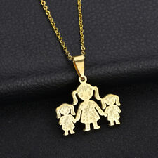 Unique Stainless Steel Single Mother Kids Pendant Chain Necklace Jewelry Showy