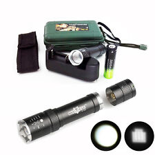 12000LM Zoomable XML T6 LED Tactical Powerful Flashlight+Battery+Charger+Case#