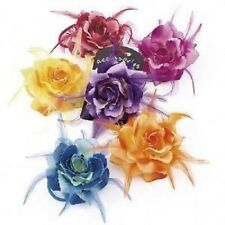 Bright Tone Rose Flower Corsage/Hair Elastic Feather Wedding/Parties