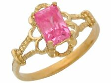 10k or 14k Yellow Gold Simulated Pink Topaz Vintage Look Baby and Kids Ring