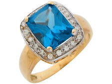 10k or 14k Two-Tone Gold Simulated Blue Zircon White CZ Beautiful Ladies Ring