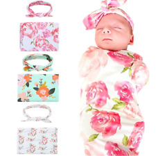 Newborn Baby Infant Floral Swaddle Wrap Swaddling Sleeping Bag Blanket&Headband