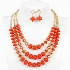 Women Classic Design Fashion Crystal  Earrings Necklaces Jewelry Set