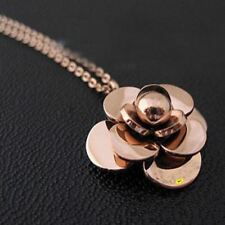 New Fashion Rose Gold Plated Stainless Steel Camellia Necklace For Women