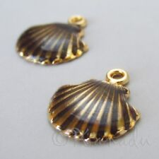 Scallop Shell 18mm Gold Plated Brown Enamel Beach Charms C1798 - 2, 5 Or 10PCs