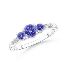 Three Stone Round Natural Tanzanite Diamond Ring 14k White Gold Size 3-13