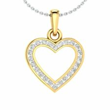 """Heart Pendant 1/4 Ct Round Cut D/VVS1 Solid Gold Love 18"""" Necklace Fine Jewelry"""