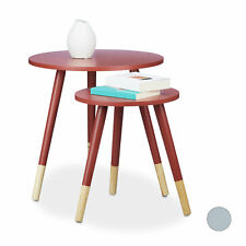 Round Side End Table 2 Set, Matt Lacquered Nesting Tables Kids Table Sofa Table