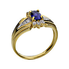 Gold-Plated Sterling Silver Blue Oval Created-Sapphire Women's Wedding Ring