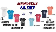 NEW GIRLS 4 PC AEROPOSTALE PS KIDS PSNY GRAPHIC T SHIRT SET SIZE 12