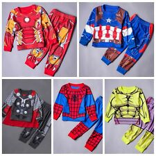 Kids Boys 2Pcs Superhero Cosplay Costume Outfits Pajamas Set Sleepwear Homewear