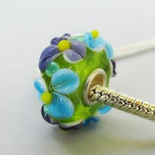 Green Floral Lampwork Glass 15mm Large Hole European Beads EB1064 - 1, 2 Or 5PCs