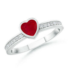 Bezel Heart Ruby Promise Ring with Diamond Accents